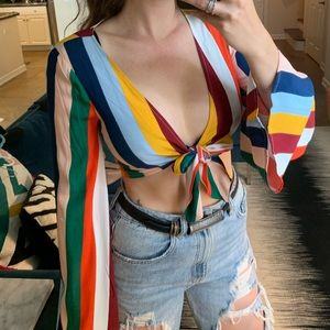 NWT Forever 21 Striped Tie Bell Sleeve Crop Top